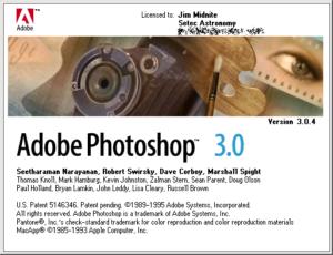 Écran d'accueil de photoshop 3.