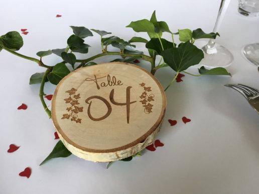 numérotation de table en bois