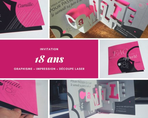 carton d 39 invitation anniversaire original et sur mesure pour 18 ans. Black Bedroom Furniture Sets. Home Design Ideas