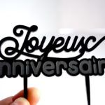 cake topper : joyeux anniversaire noir
