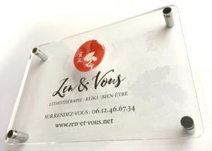 Plaque Commerciale plexiglass - Zen & Vous